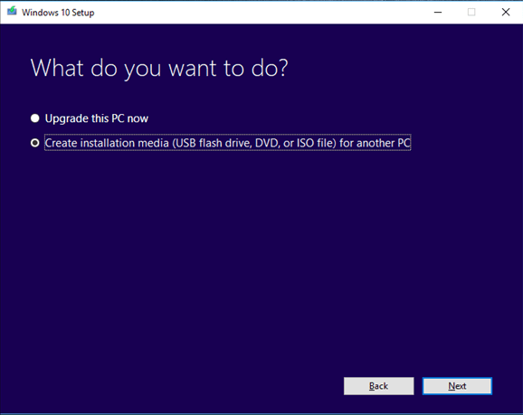 create installation media for windows setup