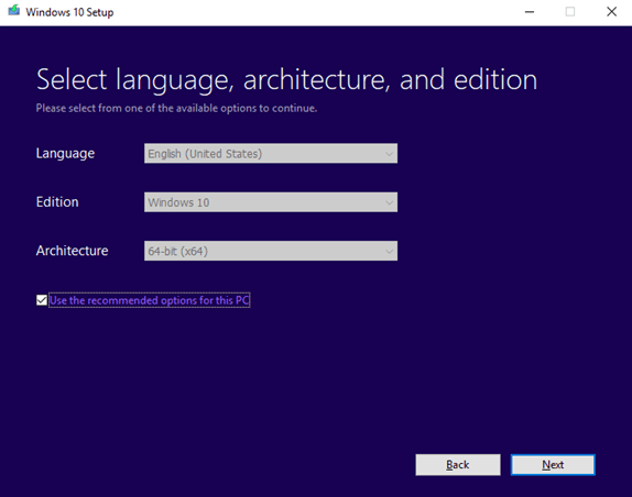select language, architecture and edition for windows 10 setup